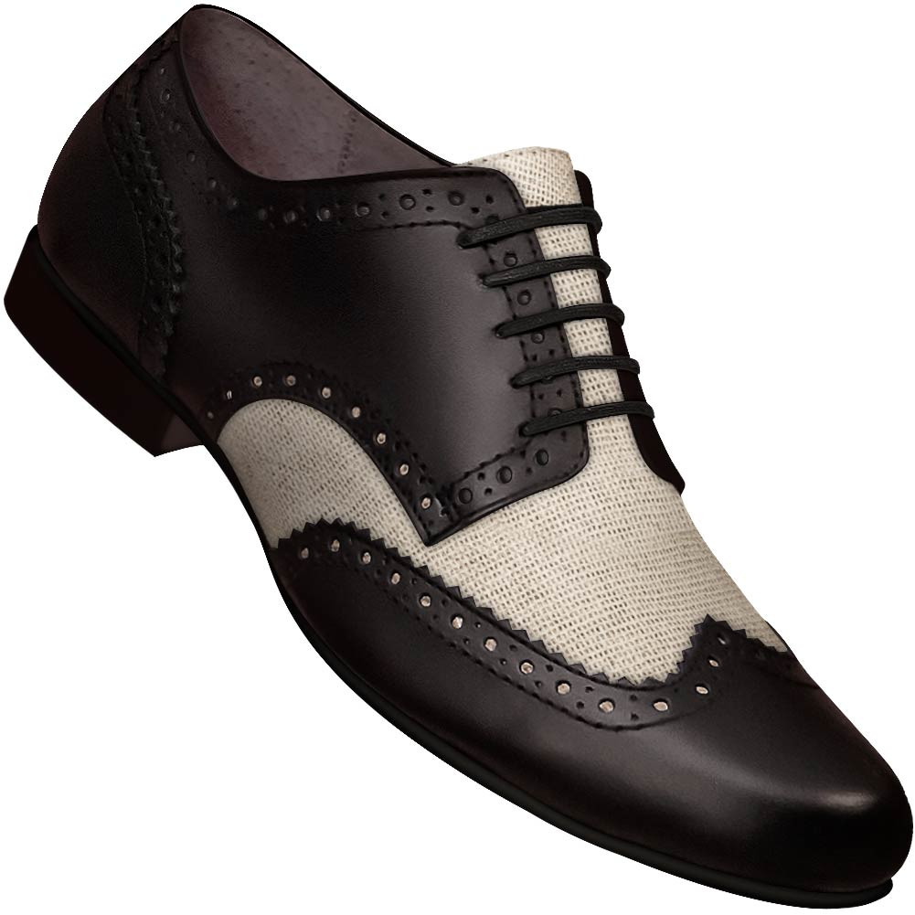 Aris Allen Men's Swing Era Black Leather & Ivory Mesh Wingtip Dance Shoe