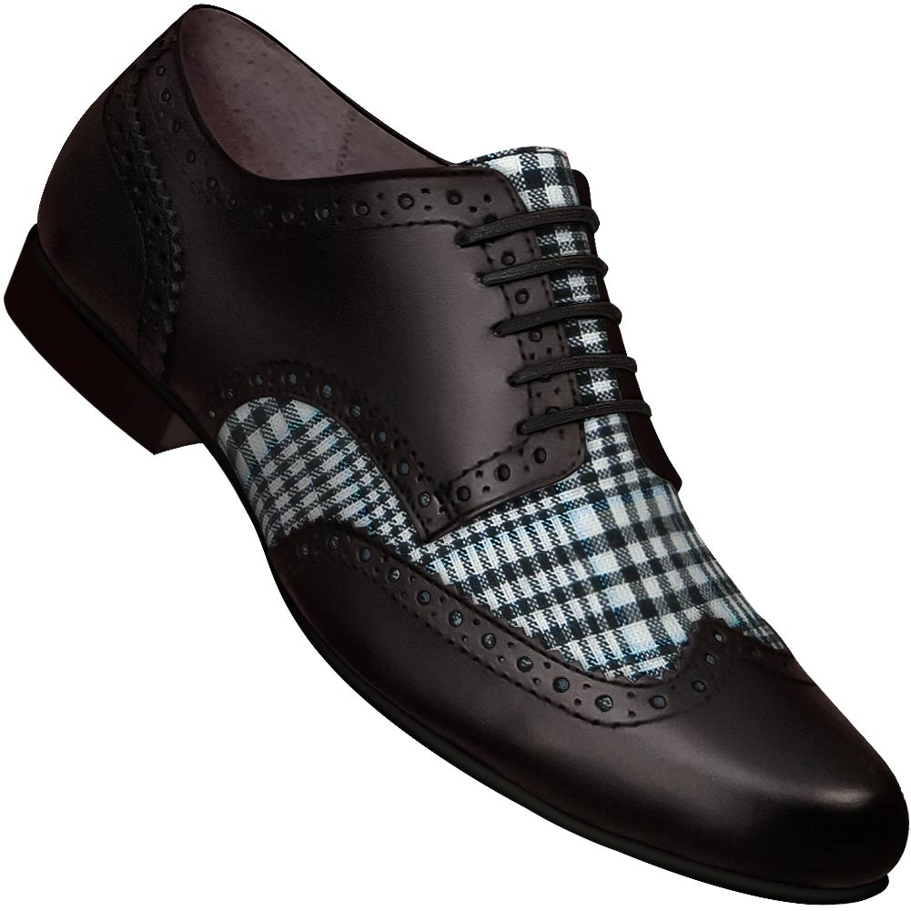 Aris Allen Men's Swing Era Black Leather & Plaid Linen Wingtip Dance Shoe