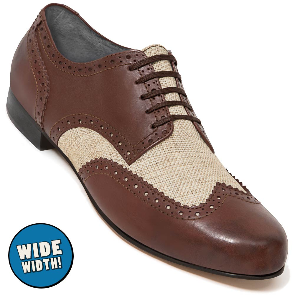 Aris Allen Men's Wide Swing Era Cognac Leather & Ecru Linen Wingtip Dance Shoe
