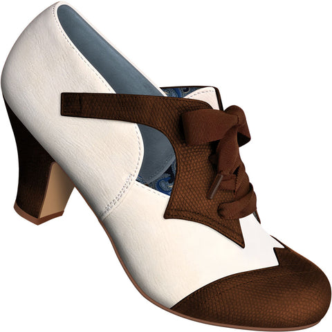 Aris Allen Women's Two-Tone Brown and Ivory Oxford Dance Shoes with Ribbon Laces - fits Wide