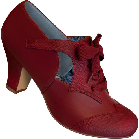Aris Allen Women's Red Faux Lizard Oxford Dance Shoes with Ribbon Laces - fits Wide