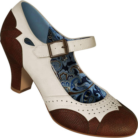 Aris Allen Women's Ivory Mary Jane Dance Shoes with Brown Faux Lizard Accents
