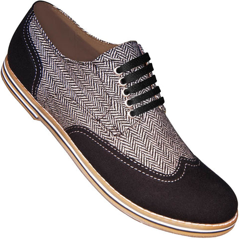 Aris Allen Men's Black & Herringbone Canvas Wingtip Dance Shoes (Black Laces)