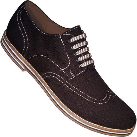 Aris Allen Men's Black Canvas Wingtip Dance Shoes (Striped Laces)