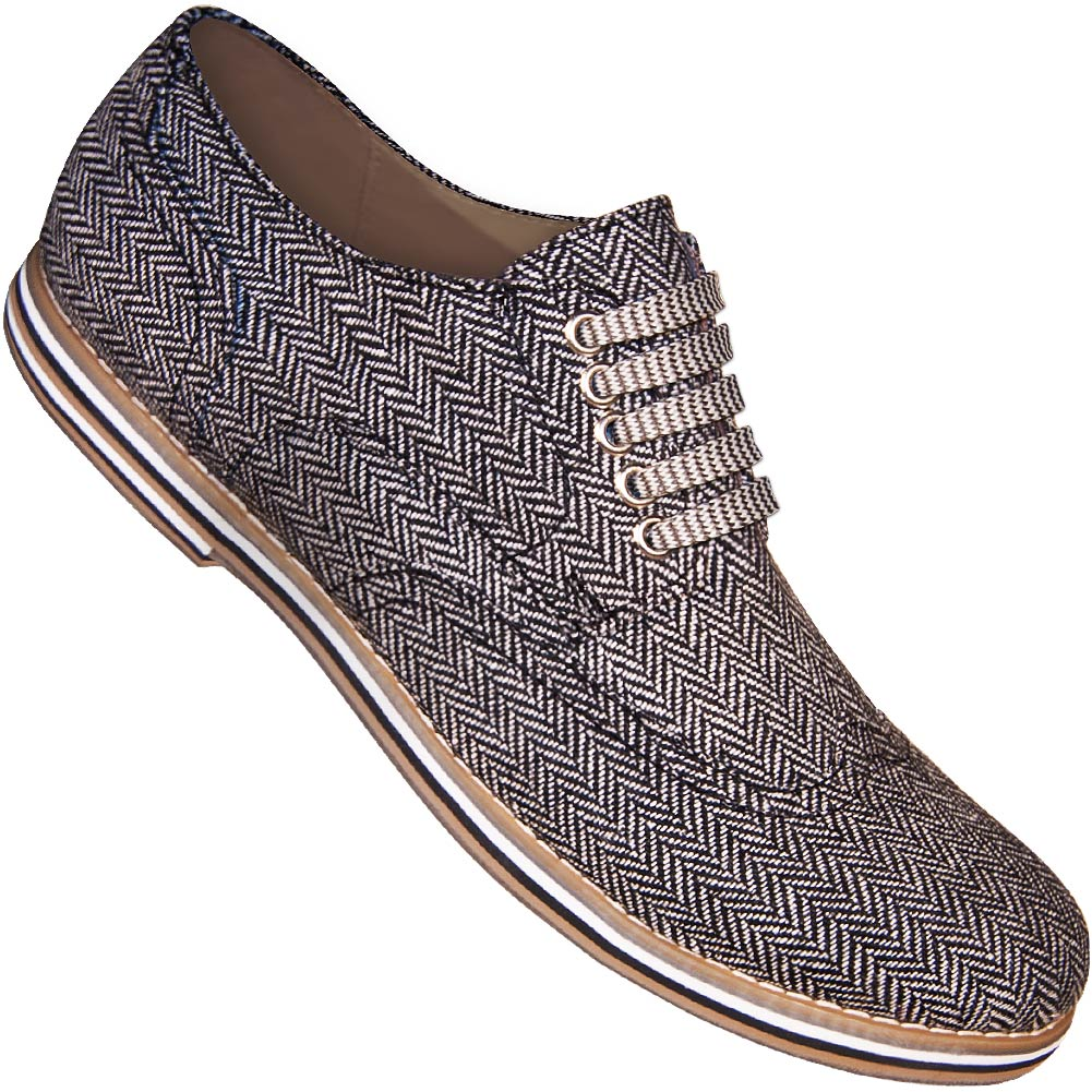 Aris Allen Men's Herringbone Canvas Wingtip Dance Shoes (Striped Laces)