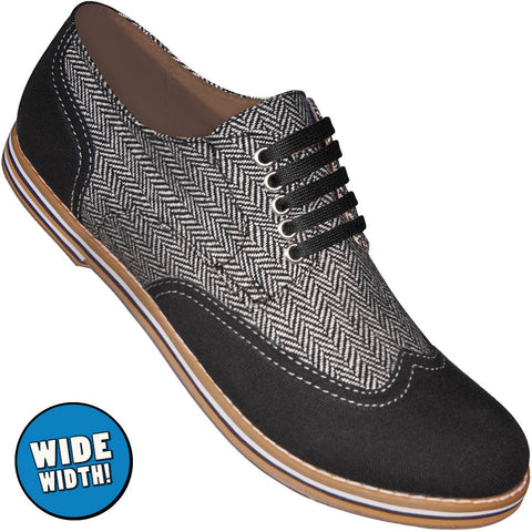 Aris Allen Men's Wide Black & Herringbone Canvas Wingtip Dance Shoes (Black Laces)