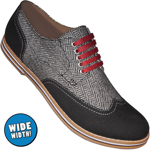 Aris Allen Men's Wide Black & Herringbone Canvas Wingtip Dance Shoes (Red Laces)