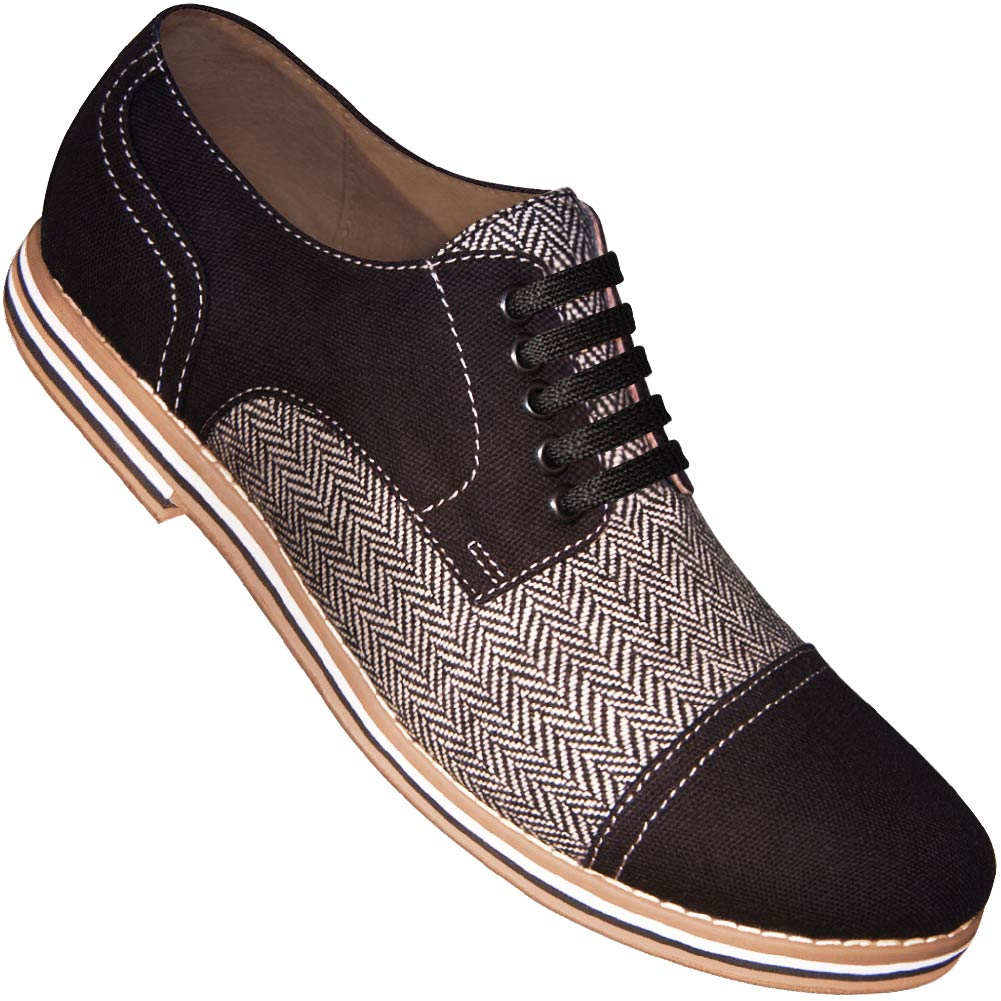 8d86b4ca6b99 Aris Allen Men s Black Canvas   Herringbone Spectator Captoe Dance Sho