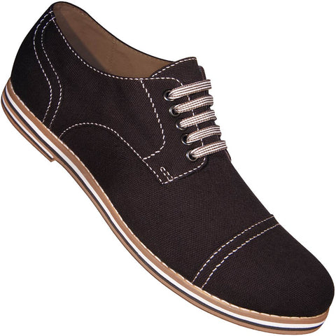 Aris Allen Men's Black Canvas Captoe Dance Shoes (Striped Laces)