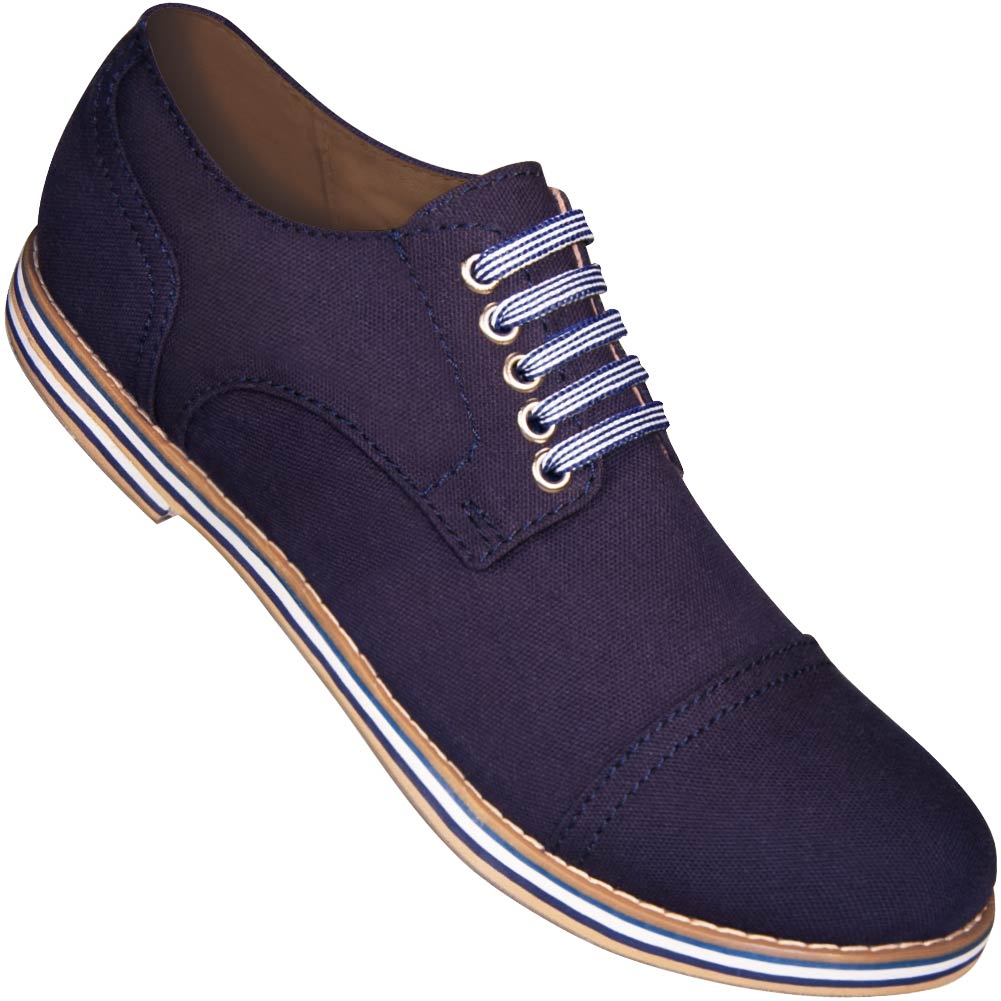 Aris Allen Men's Navy Blue Canvas Captoe Dance Shoes (Striped Laces)