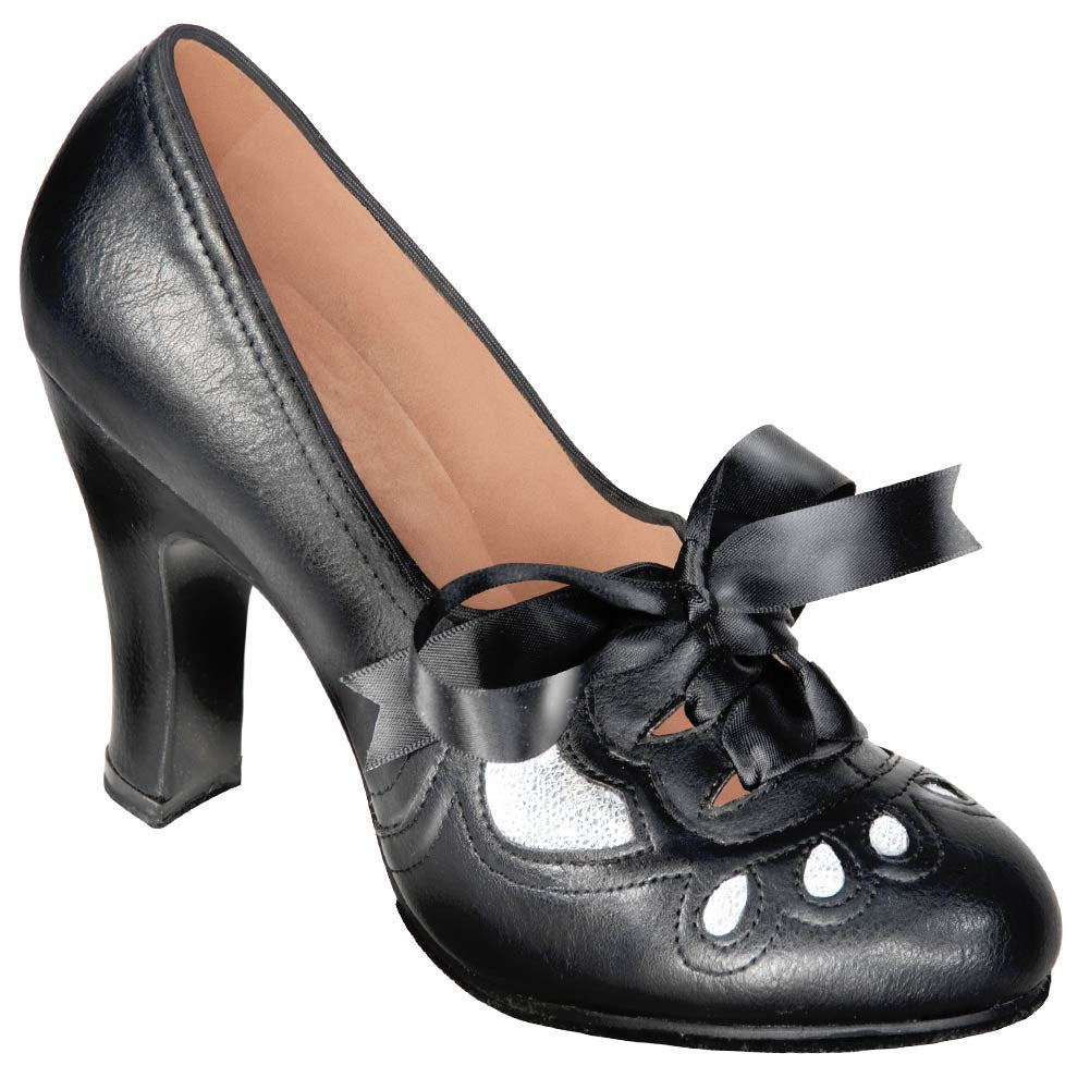 Aris Allen Women's 1930s Black and Silver Lace-up Heeled Oxford Shoes, dancestore.com - 1