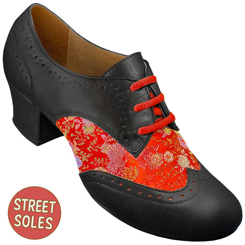 Aris Allen Women's Red Brocade Spectator Oxford Wingtips Street Soles
