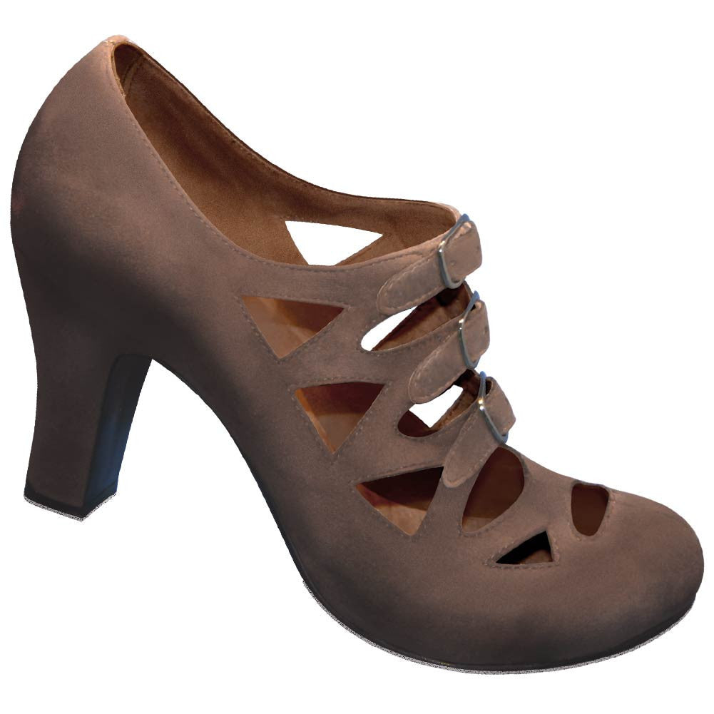 Aris Allen Women's Brown Velvet 1940s 3-Buckle Dance Shoes, dancestore.com - 1