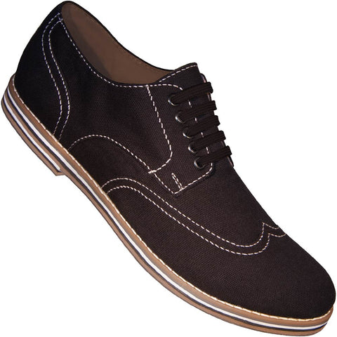 Aris Allen Men's Black Canvas Wingtip Dance Shoes (Black Laces)