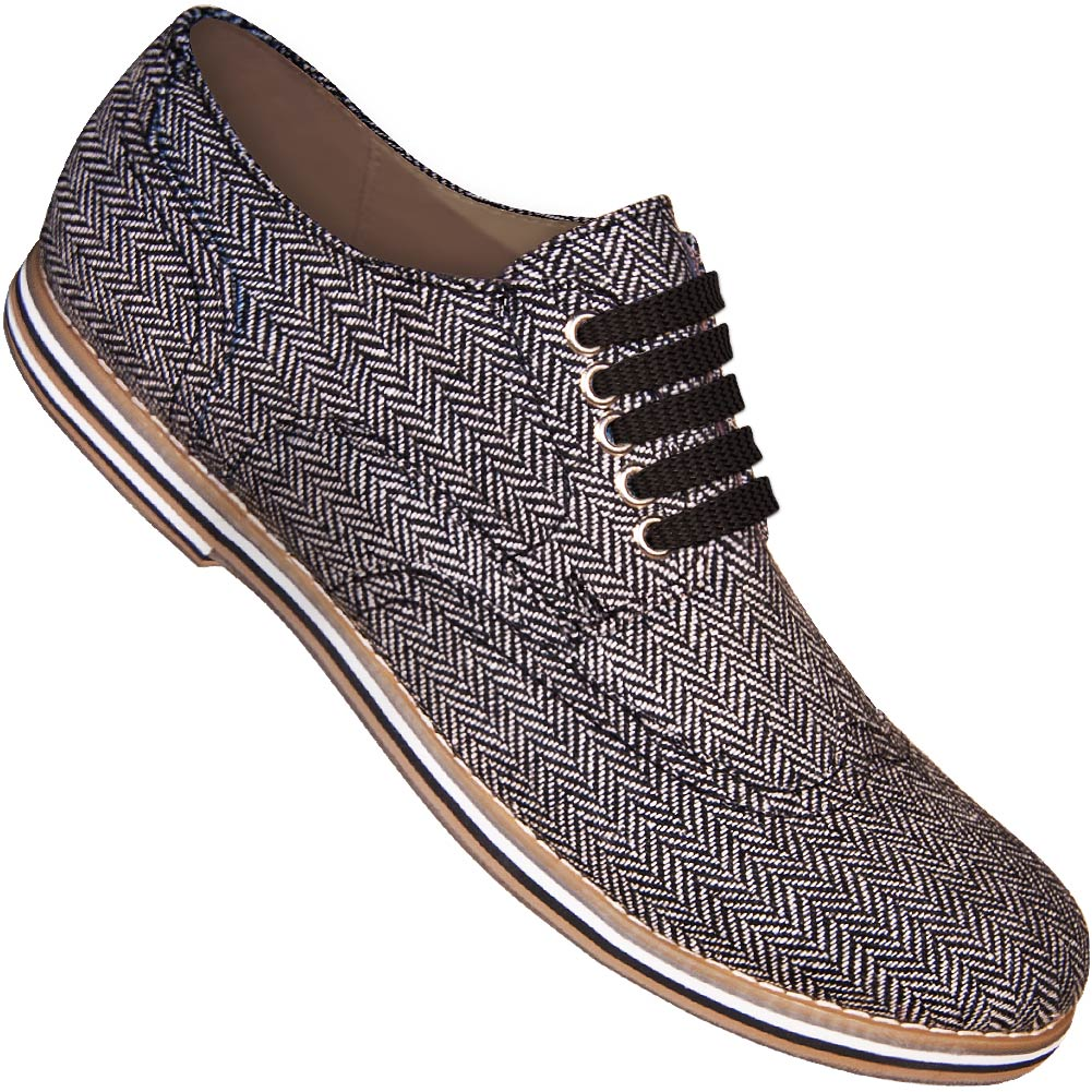 daede476d838 Aris Allen Men s Herringbone Canvas Wingtip Dance Shoes (Black Laces)