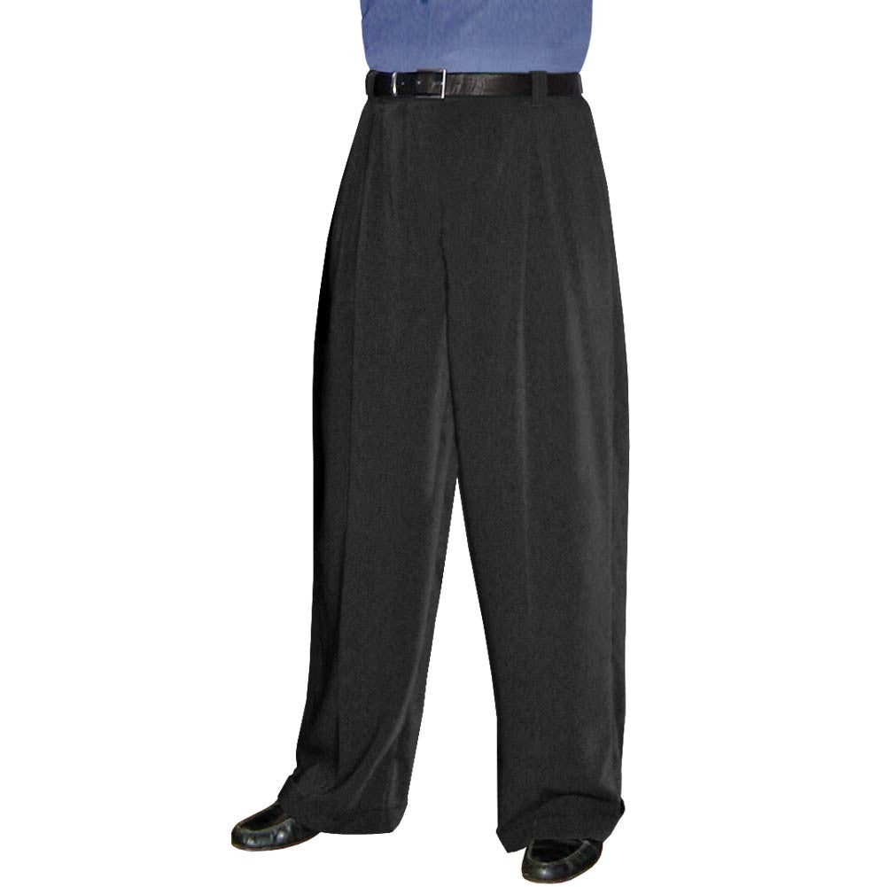 Men's Black Wide Leg Pleated Trousers *Limited Sizes*, dancestore.com