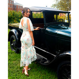 Beautiful woman next to classic car in Aris Allen Dance Heels