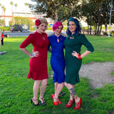 Rockabilly pinup girls in Aris Allen Red 3 Buckle Heels