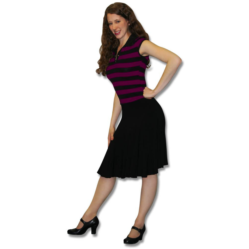 Black Knee Length Skirt with Deco Accents, dancestore.com - 1
