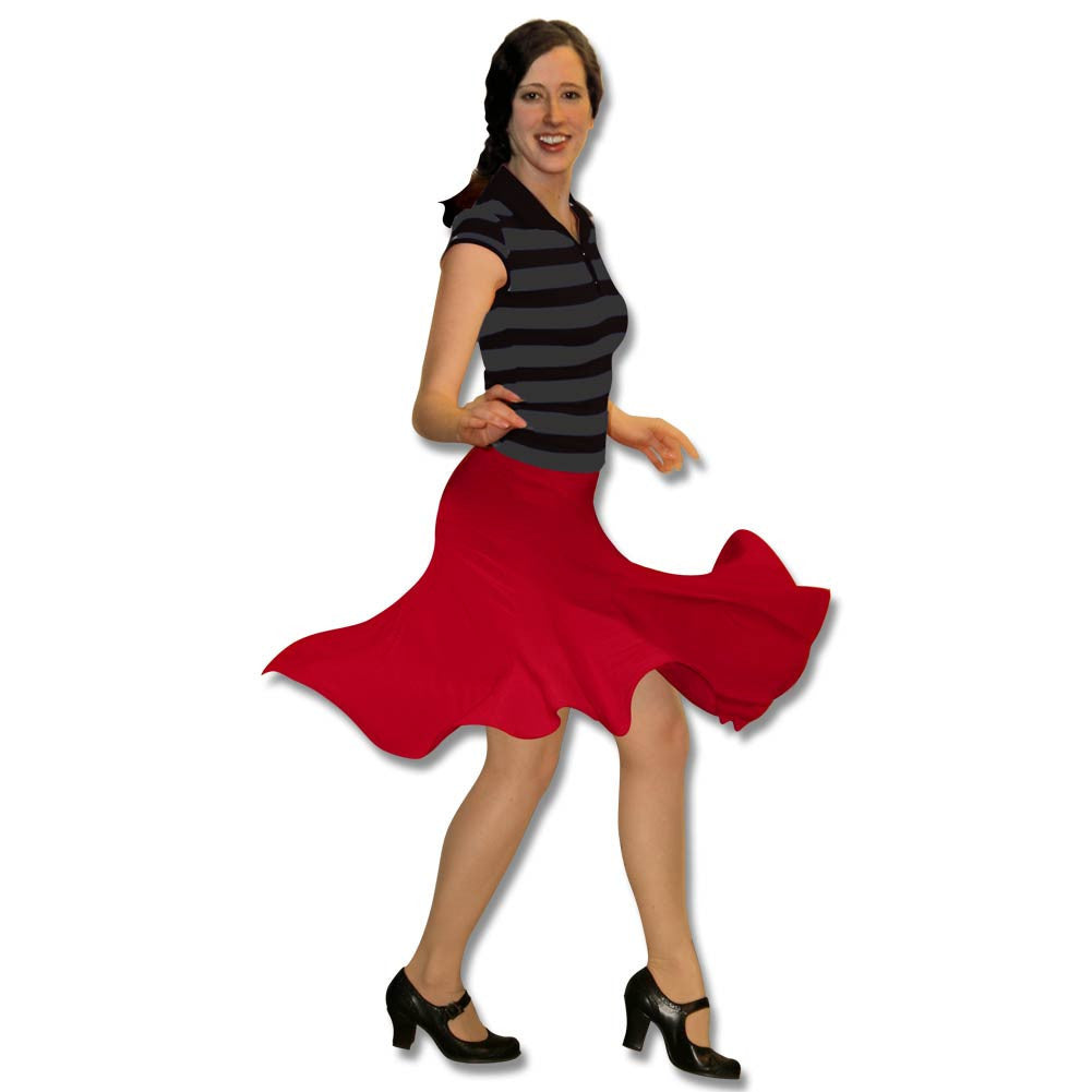 Red Knee Length Skirt with Deco Accents, dancestore.com - 1