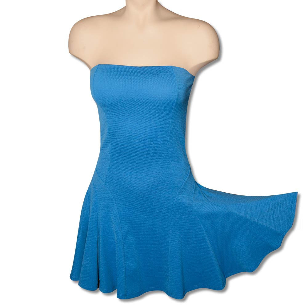 Blue Strapless Twirly Dress with Bra Top, dancestore.com - 1