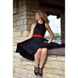 Blonde girl black vintage dress Aris Allen 3 buckle heels