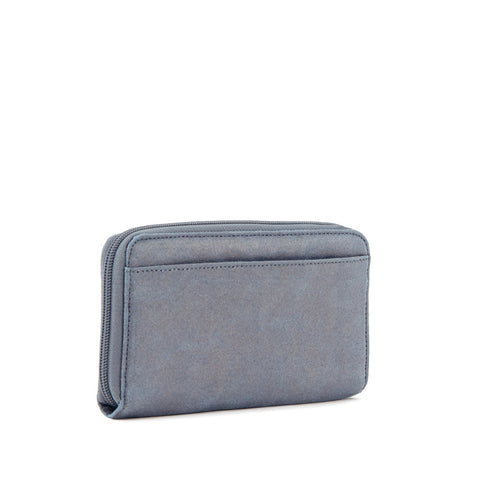 Clarissa Metallic Continental Zip Wallet - Gilded Silver Leaf Metallic