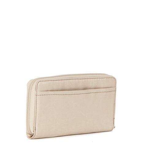 Clarissa Metallic Continental Zip Wallet - Gilded Champagne Metallic
