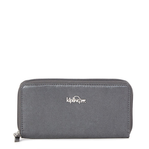Clarissa Metallic Continental Zip Wallet - Gilded Grey Metallic