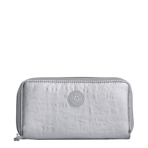 Clarissa Metallic Continental Zip Wallet - Platinum Metallic