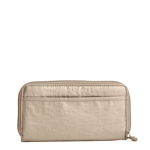 Clarissa Metallic Continental Zip Wallet - Champagne Metallic
