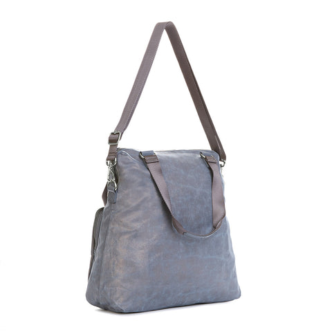 New Camryn Laptop Handbag - Gilded Silver Leaf Metallic