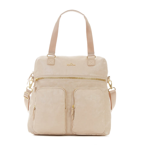 New Camryn Laptop Handbag - Gilded Sandy Teak Metallic