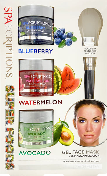 Spascriptions: Face Mask x3 Set Superfoods (Blueberry/Watermelon/Avocado) with applicator