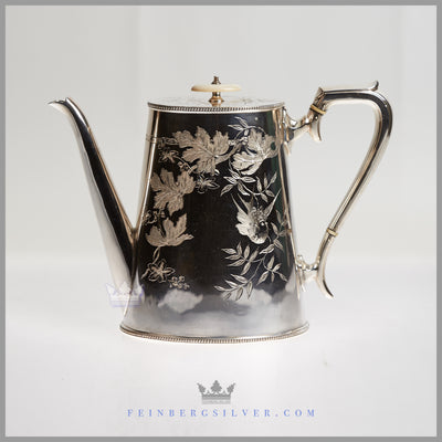 Fine Quality Antique English Silver Plated Cann Shaped Tea & Coffee Set - Naturalistic