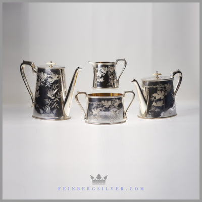 William Fairbairns 4pc Silver Tea Set Service For Sale. Cann shaped Victorian Naturalistic | Feinberg Silver