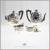 Walker & Hall 4 Piece Tea and Coffee Set Sterling Silver Wood Antique Victorian For Sale | Feinberg Silver