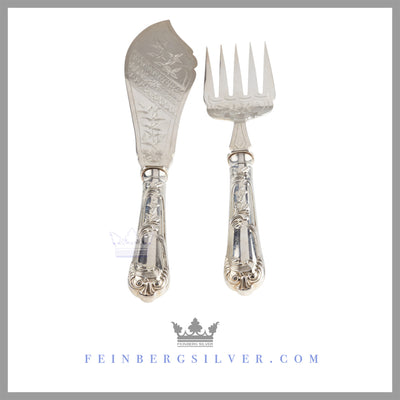 Pair of Fish Servers - Chinoiserie | Silver Plated Victorian c. 1865