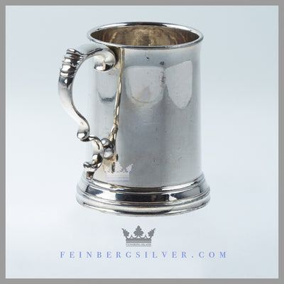 Feinberg Silver - The Antique English Silver Child's Mug is silver plated, crystal, and of cann shape with a clear and cranberry glass bottom.