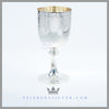 The very large antique English silver plated goblet is vase shaped and stands on a pedestal base. Feinberg Silver