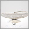 Feinberg Silver - The oblong English silver plated basket with an applied French gadroon border on a shaped oval pedestal foot with beading.