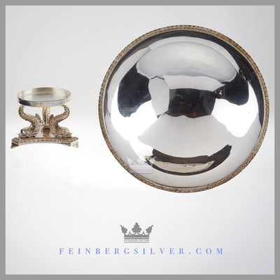 The English silver plated comport has a shallow removable dish (from the base) and an applied acanthus border. Feinberg Silver