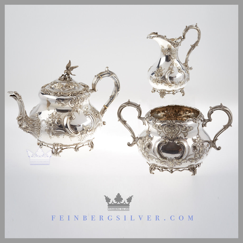 Mappin Bros 3Pc Tea Set for Sale. Early English silver plated Louis XVI style 3 piece teaset by the Mappin Brothers.