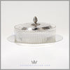 Antique English Silverplate & Crystal Butter Dish - Fern Leaf - c. 1880 | James Dixon