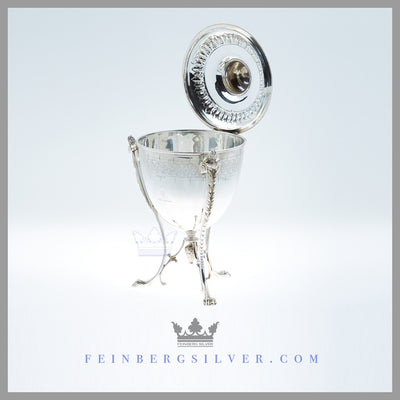 Feinberg Silver - The unusual vase-shaped antique English silver plated biscuit box has a slightly domed lid with a concave riser surmounted by a stylized acanthus finial.