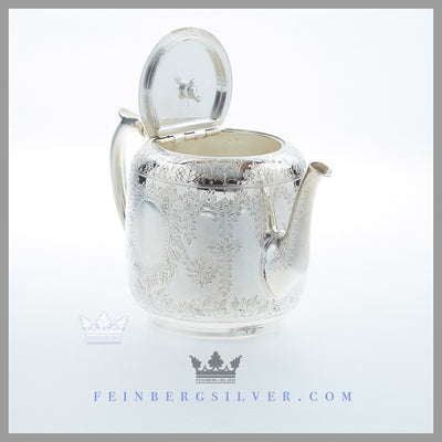 Antique English Silverplate Bachelor Tea Pot - c. 1865 | Fern Engraving