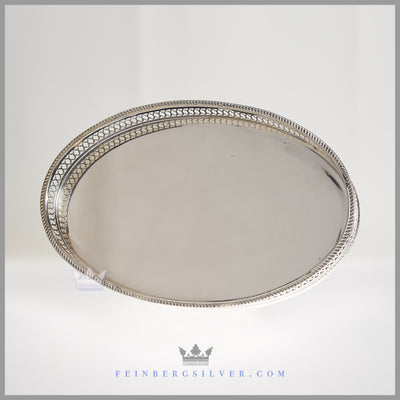 Antique English Oval Gallery Waiter/Salver c.1915 | Goldsmiths & Silversmiths