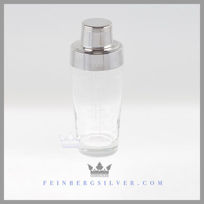 Antique Cocktail Shaker Silver EPNS Glass For Sale | Feinberg Silver