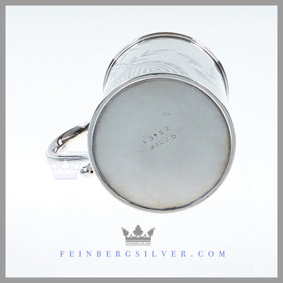 Feinberg Silver - The can shaped Antique English silver plate child's mug has a flat bottom and a scroll handle with an acanthus leaf thumb-piece. Feinberg Silver