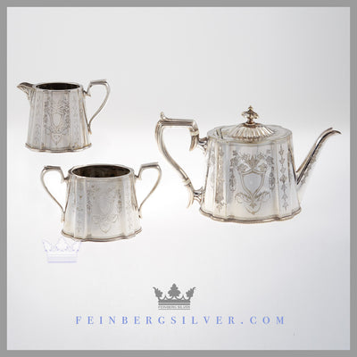 Benetfink 3pc Silver Tea Set for Sale | Feinberg Silver - The English silver plated 3 pc bachelor set is shaped cann shaped of neo-classical design.